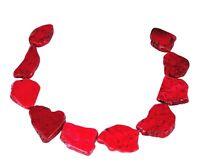 😏 Magnesit große rote Scheiben-Nuggets Edelsteinperlen Strang für Kette 😉