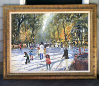 Vintage Impressionist Oil Painting Central Park Zoo Bicycles Victorian Signed