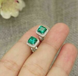 2Ct Asscher Cut Green Emerald Halo Stud Earrings Solid 14K White Gold Finish