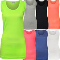 New Womens Plus Size Fluorescent Neon Colour Ribbed Fitted Vest Tops 14-28