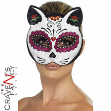 Sugar Skull Cat Eyemask with Glitter Day of the Dead Halloween Fancy Dress