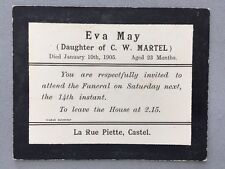 Genealogy: Memorial Death Funeral Card #A65 MAY Eva Age 23 Months 1905: Guernsey
