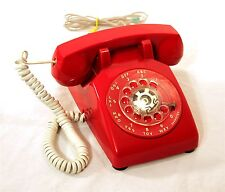 VINTAGE CLASSIC CANDY APPLE RED BELL 500 ROTARY DIAL DESK PHONE TELEPHONE WORKS
