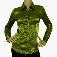 Olive Green - Satin Vintage Button Down Solid Collar Shirts Long Sleeve Blouse