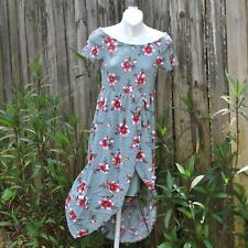 Almost Famous Smocked Off Shoulder Wrap Front High Low Grey Floral Dress Sz L