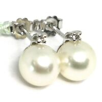 18K WHITE GOLD EARRINGS WITH WHITE ROUND AKOYA PEARLS 8.5 MM AND DIAMONDS