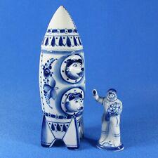 Belka & Strelka, Space dogs, Gzhel Porzellan Shtof Raum Rakete UdSSR + Kosmonaut