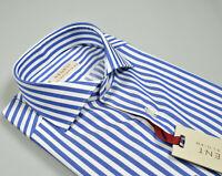 Camicia Regent by Pancaldi Slim Fit Cotone Collo alla Francese a Righe Azzurro