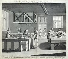 GLASS MAKING, GRINDING & POLISHING PLATE GLASS original antique print 1748