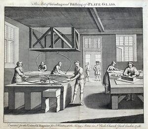 GLASS MAKING, GRINDING & POLISHING PLATE GLASS original antique print 1748