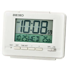 Seiko LCD Alarm Clock with Calendar and Thermometer - White New UK