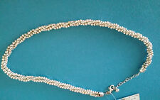Fine Sterling Silver 3 strand Twisted Diamond Cut Beaded Necklace Dobbs Boston