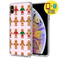 Gel Design Phone Case Apple iPhone Xs MAX,Gingerbread Man Print,Tempered Glass