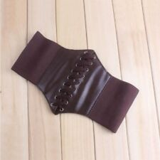 Elastic Faux Women Lady Wide Leather Waist Stretch Waistband Corset Belt