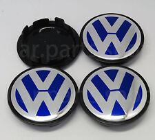 4x 65mm VW Blue Wheel Center Caps Emblem GOLF PASSAT TOURAN  Cover Hub 3B7601171