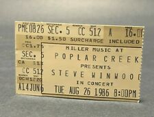Steve Winwood Ticket Stub August 26, 1986 Poplar Creek Hoffman Estates Illinois