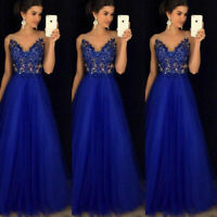 Women Formal Wedding Bridesmaid Long Evening Party Ball Prom Cocktail Blue Dress