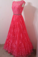SHERRI HILL Gown Coral Rose Lace Jeweled Net Skirt Sleeveless Model Length 4