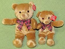 "2 GUND BO BEAR Plush Bean Bag Tan Brown TEDDY 12"" & 10"" Red Plaid Bow 10813 TAGS"