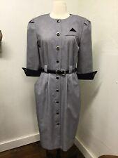 Vtg PERI PETITES 8 Classic Black,White Pin-Up Madmen Secretary Button Dress USA