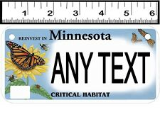 CUSTOM PERSONALIZED 2 HOLE BICYCLE STATE LICENSE PLATE-MN CRITICAL HAB-BUTTERFLY