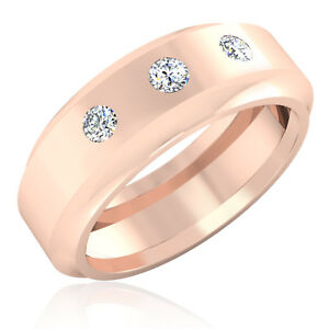 0.27 Ct Men Natural Diamond Engagement Ring 14K Rose Gold Band Size 8 9 10 11