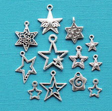 Stars Charm Collection 12 Tibetan Silver Tone Charms FREE Shipping E104