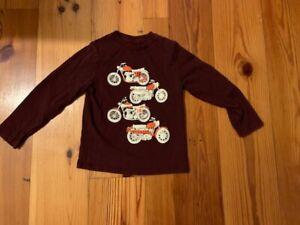 Gap Kids Boys Long Sleeve Motorcycle Graphic T-Shirt Maroon Black XS EUC