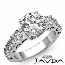 2.15ct Round Diamond Engagement 3 Stone Milgrain Ring GIA F VS1 14k White Gold