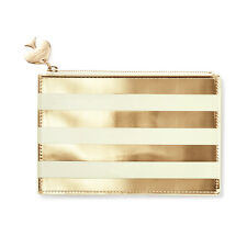 """KATE SPADE - Pencil Pouch -  Set - """"Gold Stripe"""" - Six Pieces Included!"""