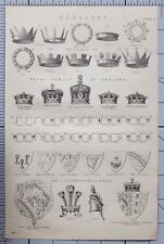 1868 Print ~ HERALDRY Royal Family Angleterre State Crown Prince de Galles Arms
