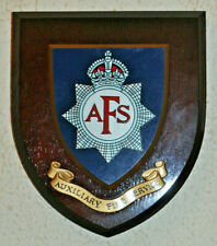 Auxiliary Fire Service plaque shield crest brigade badge with King's Crown