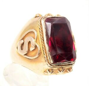 Ruby Men's Statement Ring 9ct Rose Gold Embossed Shoulders Fine Gents Jewellery