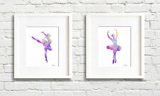 Set of 2 Ballet Dancer Abstract Watercolor Paintings 11 x 14 Art Prints by DJR