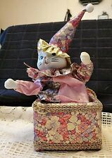 "Ceramic Clown Cat Music Box ""Send In The Clowns"""