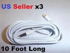 LOT OF 3 - Long 10 foot 8 Pin USB Charger Cable Cord for Apple iPhone 5 5C 5S 6
