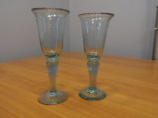 Set Pair of 2 Hand Blown Glass Wine Goblets Glasses