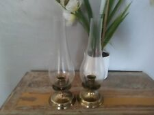 "Made in Italy 12"" tall hurricane clear glass/brass chimney candle holders"