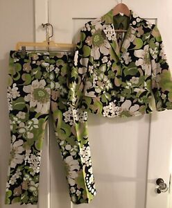 J Crew Pique Suit Small 8 Jacket Cropped Pants EUC Mod Pop Flower Floral Print