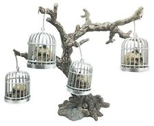 Miniature Caged Reptile Skull Ornament With Withered Tree Display Figurine