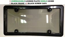 Black Frame + Smoke Shield For License Plate + 4 Black Screw Caps for TOYOTA