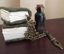 Polymer Clay Mini Book Sculpture, Pen Nib, Skeleton Key, Inwell. For the Writer!