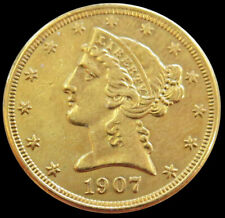 1907 D GOLD US $5 LIBERTY HEAD HALF EAGLE COIN DENVER MINT *CLEANED