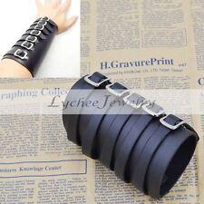 Punk Buckles Cuff Bracelet Leather Bracer Arm Armor Gothic Black Free Shipping