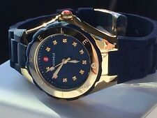 NWT MICHELE Tahitian Jelly Bean Navy Blue & Gold Topaz Swiss Watch MWW12P000004