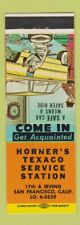 Matchbook Cover - Horner's Texaco oil gas San Francisco CA