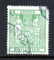 New Zealand 1931 £3 green F164 Arms fine used (corner fault) CV £350 WS12374