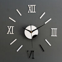 3D DIY Wall Clock Home Modern Decoration Crystal Mirror Sticker Living Room Pop.