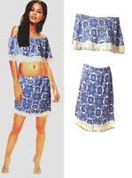 Womens Fringed tassel Printed Bardot Crop Top and Mini Skirt Ladies Co-Ord Set