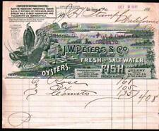1895 St Louis - J W Petters & Co - Oysters Fish Fresh & Salt Water Letter Head